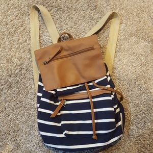 Madden girl  navy and white stripped backpack
